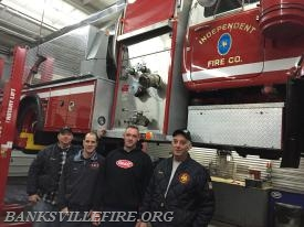 Few members of the Apparatus Committee L to R: Ex Chief R.Schupp Ex Captain K.Fiumfreddo Ex Chief A.Farquhar and Ex Chief R.Farquhar