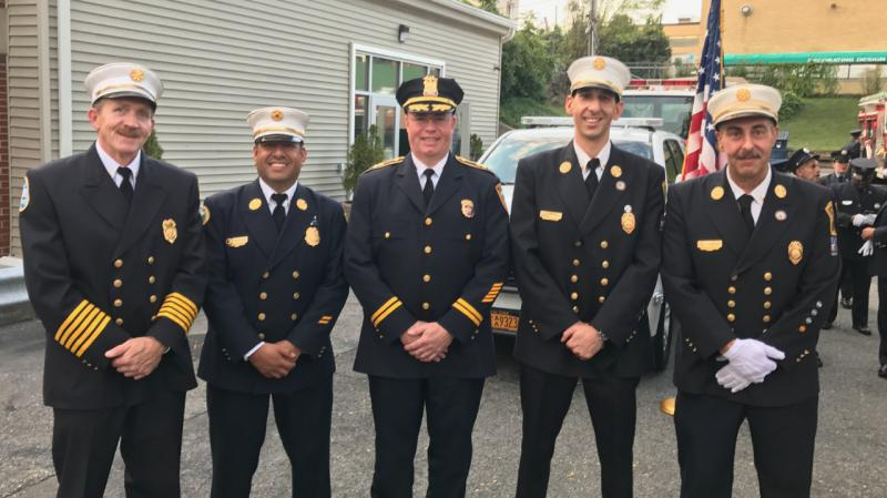 2017 North Castle chiefs at the North White Plains inspection. Left to right:  Banksville chief Walter Watson; Armonk chief Carlos Cano; North Castle Police chief Peter Simonsen; North White chief Andrew Seicol; North White assistant chief Albert Conte.