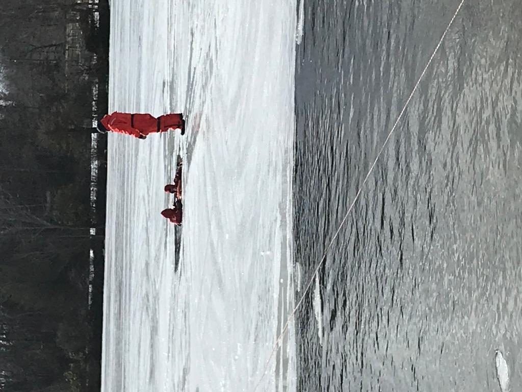 Battalion 16 ice rescue drill with neighboring fire departments.