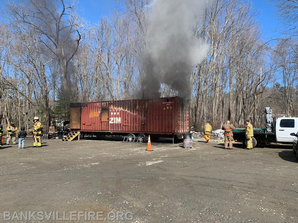 Flashfire training trailer used to show potential conditions leading up to a flashover,  rolling flames, and smoke condition changes with different methods of ventilation.